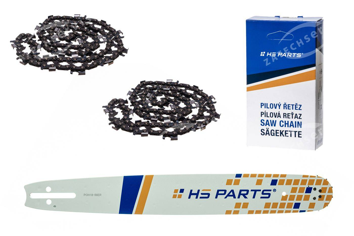 "HS PARTS Akciový set vodiaca líšta 18"" (45 cm) 3/8"" .058"" (1,5 mm) + 2x pílový reťaz 64čl."