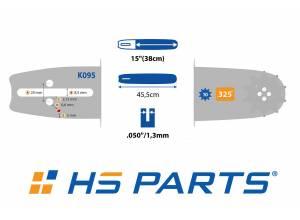 """HS PARTS Vodiaca líšta 15""""(38cm) + 2x reťaz hranatý zub .325"""" 1,3mm 64 čl. pre Husqvarna"""